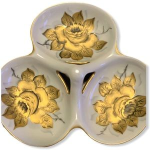 Vintage Porcelain 3 in 1 Dish with Gold Roses